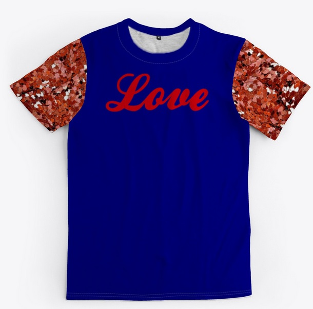 Blue and red love women's blouses and shirts